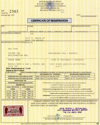 certificate of registration - bir r